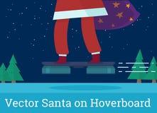 Kerstman op hoverboard vectorillustratie Stock Afbeelding