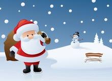 Kerstman op ijs Stock Foto