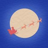 Kerstman op slee met raindeer en maan papercraft Royalty-vrije Stock Afbeelding