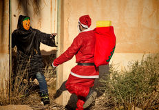 Kerstman in problemen Royalty-vrije Stock Afbeeldingen