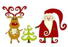 Kerstman, rendier en boom. Royalty-vrije Stock Afbeeldingen