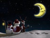 Kerstman, rendier en Ijzig stock illustratie