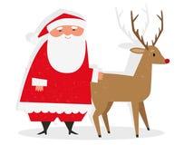 Kerstman & Rudolph Royalty-vrije Stock Foto's