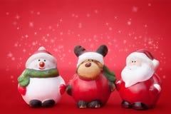 Kerstman, Rudolph en Sneeuwman Royalty-vrije Stock Fotografie