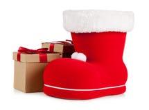 Kerstman` s schoen op witte achtergrond Royalty-vrije Stock Foto