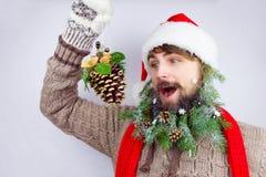 Kerstman` s verfraaide baard Stock Afbeeldingen