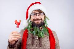 Kerstman` s verfraaide baard Stock Afbeelding