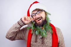 Kerstman` s verfraaide baard Royalty-vrije Stock Afbeeldingen