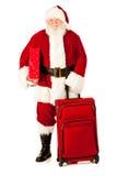 Kerstman: Santa With Gift en Bagage Stock Afbeeldingen