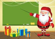 Kerstman in school - Illustratie Stock Afbeeldingen