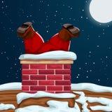 Kerstman in schoorsteen wordt geplakt die stock illustratie