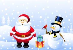 Kerstman, Sneeuwman & Kerstmisvogel Stock Foto