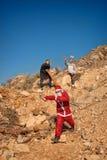 Kerstman in vreselijk probleem stock afbeelding