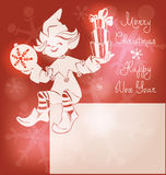 Kerstmanelf op Kerstkaart, bunner, het van letters voorzien Royalty-vrije Stock Afbeeldingen
