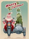Kerstmanfietser op motorfiets Stock Fotografie