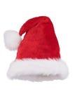 Kerstmanhoed met gevouwen die uiteinde op wit wordt geïsoleerd Royalty-vrije Stock Afbeelding