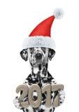 Kerstmanhond met 2017 nieuwe jaaraantallen Stock Afbeeldingen