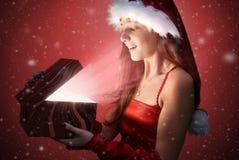 Kerstmanmeisje Royalty-vrije Stock Afbeeldingen