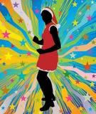 Kerstmanmeisje die op abstracte achtergrond met sterren dansen Royalty-vrije Stock Afbeeldingen