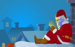 Kerstmanpraatje op dak dichte omhooggaand Royalty-vrije Stock Fotografie