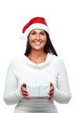 Kerstmanvrouw met gift Royalty-vrije Stock Foto