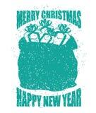 Kerstmanzak met giften grunge stijl Grote zak voor Nieuwjaar Nevel Stock Foto's