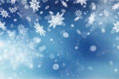 Kerstmis abstracte achtergrond met sneeuwvlokken Royalty-vrije Stock Foto