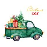 Kerstmis abstracte retro auto met Kerstboom, giften en andere decoratie stock illustratie