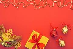 Kerstmis achtergronddecoratie Het Masker van de maskerade Royalty-vrije Stock Foto