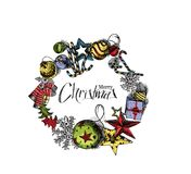 Kerstmis Achtergrondgiftkaart - isoleer vectorachtergrond vector illustratie