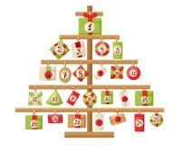 Kerstmis Advent Calendar met de Komstkalender van Santa Claus, van het rendier, van de sneeuwman en van de gift met de affiche va Stock Foto