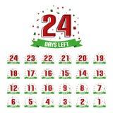 Kerstmis Advent Calendar 24 Verlaten Dagen - VectordieIllustratie met Rendier, Gift, Klok, Sneeuwvlokken, Sterren, Bomen - op Whi stock illustratie