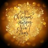 Kerstmis backgroundr met vuurwerk en Vakantie het van letters voorzien stock illustratie