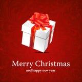 Kerstmis backround met Kerstmisdoos met lint Stock Afbeelding