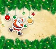 Kerstmis bakground met takken en gelukkige Kerstman Royalty-vrije Stock Foto