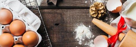 Kerstmis baksel of het koken achtergrond stock foto's