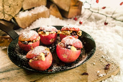Kerstmis bakte gevulde appelen Royalty-vrije Stock Foto