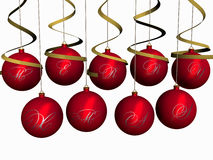 Kerstmis-ballen Vrolijke Kerstmis Royalty-vrije Stock Afbeeldingen