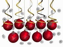 Kerstmis-ballen Vrolijke Kerstmis met sneeuwvlokken Stock Foto's