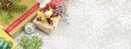 Kerstmis behandelt banner in resolutie 8 x 3 stock foto