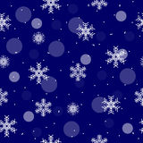 Kerstmis blauw naadloos patroon met sneeuwvlok en witte cirkels Stock Afbeelding
