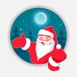 Kerstmis blauw rond teken met Kerstbomen en gevormde Santa Claus royalty-vrije illustratie