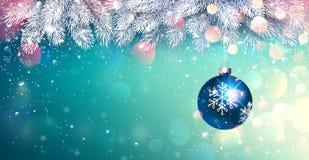 Kerstmis Blauwe Bal met Nette Takken en Heldere Verlichting Vector vector illustratie