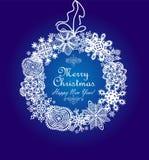 Kerstmis blauwe kaart met het hangen van document sneeuwvlokkenkroon vector illustratie