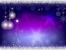 Kerstmis blauwe, purpere achtergrond Stock Afbeelding