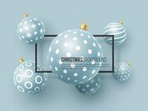 Kerstmis blauwe snuisterijen met geometrisch patroon 3d realistische stijl met zwart kader, abstracte vakantieachtergrond, vector stock illustratie