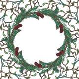 Kerstmis bloemen cirkelkader Spar en maretak de takken met doorbladert, kegels en bessen De Kerstman op een slee Royalty-vrije Stock Foto's