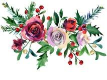 Kerstmis Bloemenachtergrond de aardillustratie van de de wintervakantie vector illustratie