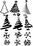 Kerstmis-bomen en sneeuwvlokken Stock Afbeelding