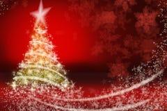 Kerstmis bont-boom met sneeuwvlokken Royalty-vrije Stock Foto